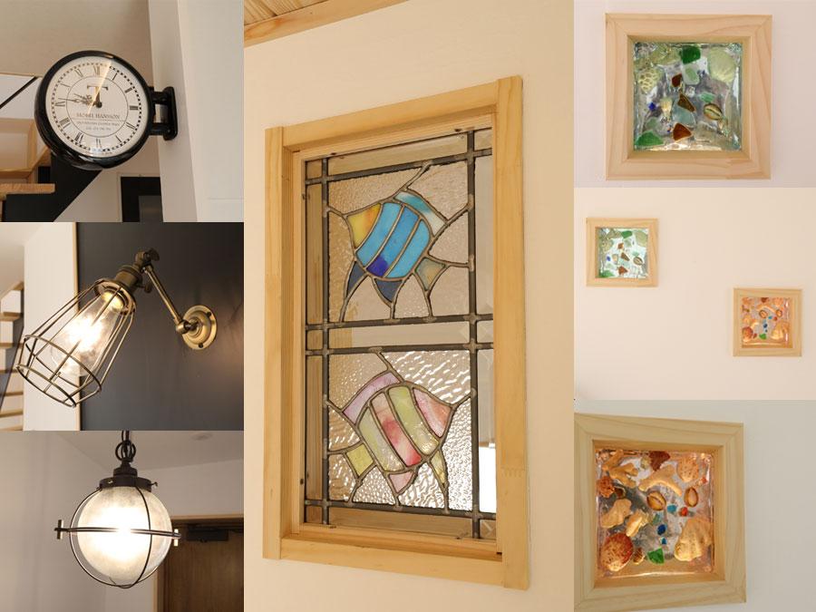 照明や壁面のステンドグラスなど、インテリアの一つ一つにまでこだわることで、 オリジナリティあふれる空間に仕上がった。